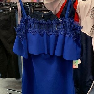 navy blue off the shoulder dress from jc penny